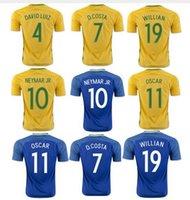 2016 camiseta de fútbol Braziles hogar lejos del envío camisa de Jersey Tailandia del fútbol de calidad Amarelinha hombres gratis