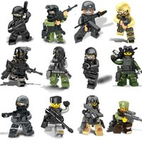 Wholesale 12PCS Army SWAT The Wraith Assault Armas Ghost Commando Mini Figure Bricks Sets Model Building Blocks Army weapon Armed Forces Baby Toys