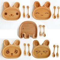 Wholesale Wood Children Dinner Plates Sets Cartoon Rabbit Shape Dinnerware Sets PVC Box Packaging set Plates Spoon Fork D10