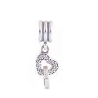 Wholesale European Style Sterling Silver Love Heart Dangle Charms Beads Fit DIY Jewelry European Snake Bracelet For Women PD342 charming_jewellery