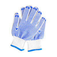 Wholesale 12 pairs high quality labour protection antiskid wear resisting glove blue plastic dot yarn gloves light comfortable garden work