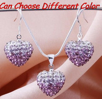 Wholesale lowest price stock mm mm multicolor Crystal Beads mix Gradient Heart Shamballa set drop earrings Necklace Pendant
