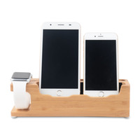 apple cradle charge - Phone Stands For Desk Smartphone Stand New Bamboo Cell Phone Holder Triple Charging Cradle Natural Wood Mobile Cell Phone Holder New