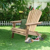 deck chair - New Outdoor Foldable Fir Wood Adirondack Chair Patio Deck Garden Furniture