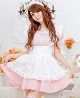 alice cotton - Hot Sale Alice Lolita Dress Maid Cosplay Fantasia Carnival Halloween Costumes for Women Pink