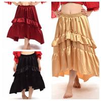 al por mayor faldas de satén amarillo-Satén irregular del satén irregular de Steampunk del Victorian de las mujeres Ruffled la falda amarillo / rojo / negro Envío rápido de la alta calidad nuevo