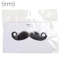 Wholesale Neitsi PC Hot Sale Beard Human Hair Full Hand Tied Fake Moustache Black Whisker For Children Adult Party Halloween Cosplay