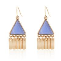 bar drop earrings - 18K Gold Plated Generous Simple Geometric Triangle Charm Marble Stone Alloy Bar Tassel Drop Earrings Women Summer Style