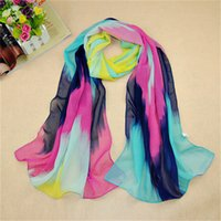 autumn color palette - 2016 chiffon silk scarf female summer and autumn all match scarf long design Spell color palette cape silk scarves