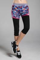 Wholesale Sport Short Pants For Women - Unique fashionable elastic waist sport fitness legging pants workout ladies loose fit exercise shorts with camo pattern for women