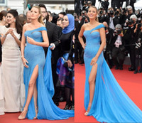Wholesale Sky Blue Celebrity Dresses Sexy Gorgeous Beading Red Carpet Formal Evening Gowns With One Shoulder Cap Sleeves Long Train