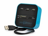 Wholesale USB hub Combo All In One Multi card Reader with Ports for MMC M2 MS Blue Color