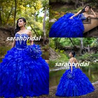 art deco sales - Gorgeous Royal Blue Princess Quinceanera Dresses Ball Gown Sweetheart Embroidery Beaded Custom Made Prom Gowns Tiers Organza Sale