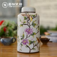 art craft storage - Totally hand painted Ceramic Tea Canister floral pattern kitchen food storage bottle jar chinese Arts And Crafts Home Decoration