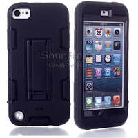 Wholesale Kickstand Hybrid in Robot Design Protection PC Silicone Dual Color Rubber Skin Stand Cover Durable Armor Case for ipod touch touch5