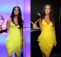 Cheap Yellow Short Celebrity Party Dresses Sexy Hot Custom Made Megan Fox Spaghetti Straps Pleat Chiffon Sexy Cocktail Dress 2016 Prom Gowns