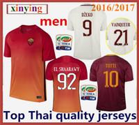 Venta al por mayor Tailandia Calidad 2016 2017 ROMA Soccer Jersey 16 17 hogar y lejos DZEKO TOTTI DE ROSSI EL SHAARAWY Shirs del balompié