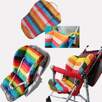 Wholesale baby strollers and car seat rainbow stripes pad sided carriage stroller accessories pram By Chair generic thick warm cushion