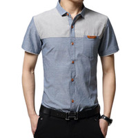 Wholesale Men Shirts New Vintage Style Clothing Denim Patchwork Design Short Sleeve Man Casual Dress Shirts MC5970506