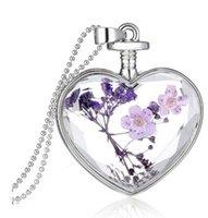 beautiful glass bottles - 2016 New Design beautiful accessories purple flower Women Dry Flower Heart Glass Wishing Bottle Pendant Necklace O27