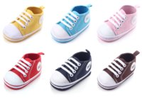 Wholesale Solid Canvas Infant Shoes Cotton Bottom Baby First Walkers Lace Up Sport Shoes For Baby Spring Autumn Shoes