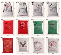 Wholesale 2016 Christmas Large Canvas Monogrammable Santa Claus Drawstring Bag With Reindeer Monogramable Christmas Gifts Sack Bags Designs DHL