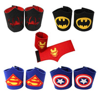 Wholesale Children masquerade wrist Bracers of new super hero cartoon props cosplay arm bands superman batman spiderman Wrist Cuffs for Kids MC0102