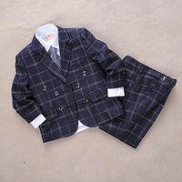 Wholesale Brand New korean style black Kids Formal Wedding Boy s Formal Wear linen black Glen Plaid three piece suit