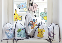 Wholesale Poke Emoji Drawstring Backpack Pocket Shopping Bag Fashion Monster Storage Bag Poke Pikachu Organizer Baggu Poke Ball Gifts Sack Bags