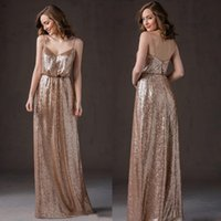 Wholesale Shining sequins bridesmaid dresses long spaghetti straps sparkling sequins bridesmaid dresses there party evening dress