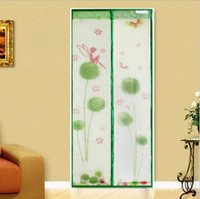 Wholesale 60sets cm Magnetic Stripe Soft Yarn Mosquito Curtain Small Apertures Screen Door Mosquito Net Prevent Dandelion Pattern