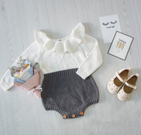 Wholesale Baby Girls Boys Patchwork Knitted Romper Soft Winter Autumn Warm Cute Cotton Babys Jumpsuits C761
