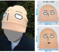 Wholesale Japanese Anime Cosplay One Punch Man Hat Saitama Cosplay shaven head Style Winter Warm Wool Cap Halloween Hats and Caps Hot Sale
