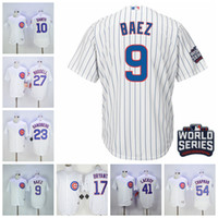 Wholesale Cubs Javier Baez Baseball Jerseys Blue Stripe World Series Brand Baseball Apparel Cool Base Player Jerseys