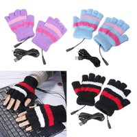 Wholesale USB Gloves Winter Laptop Fingerless USB Heating Warm Hot Hands Gloves Plush Women Mitten Patchwork Striped Half Finger Knit Glove