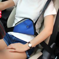Wholesale Triangle Child Car Safety Belt Adjuster Child Resistant Safety Belt Protector Shave Blue Red Beige Baby Car Safety Belt