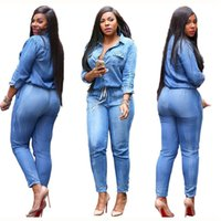 Wholesale Woman Slim Casual Pants Spring Woman New Fashion Strap Jeans Jumpsuits Woman Turndown Collar Long Sleeve Blue Button Denim Jumpsuit