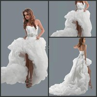 beach wedding bubbles - Hot Sell Sweetheart Empire Wedding Dress Sexy Hi Low Bridal Gowns White Organza Bubble Hem Lace Up Back Beach Garden Wedding Dresses