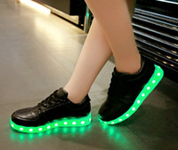 big blue ocean - Drop shipping colors LED Shoes with USB Charging light up Sneakers Low Adults Unisex LED Luminous Shoes women men Casual Shoes big size46