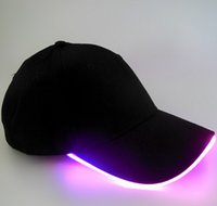 Wholesale hot sale colors LED Light Hat Glow Hat Black Fabric For Adult Baseball Caps Luminous Selection Free DHLShipping