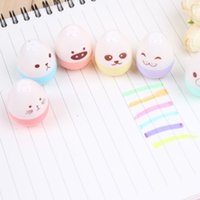 Wholesale 6pcs set Cute Mini Colored Egg Highlighters Pen Face Show Marker for Kids Kawaii Stationery Office School Supplies