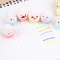 art show supplies - 6pcs set Cute Mini Colored Egg Highlighters Pen Face Show Marker for Kids Kawaii Stationery Office School Supplies