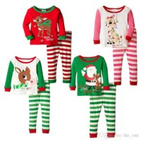 animal free clothing - Christmas pajamas baby girl Kids outfits reindeer santa claus Sleepwear Full Sleeve Nightwear Children Christmas Clothing set