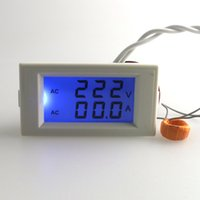 Digital Only AC Others Wholesale-Digital AC Voltmeter Ammeter 100-300V 50A Voltage Current Ampere Panel Meter Blue LCD Backlight CT Coil White Drop Shipping