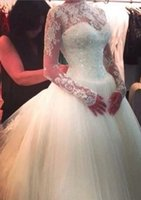 Wholesale 2016 Long Sleeve with sheer straps buttons back Bridal gown Embroidery Ball gown wedding dresses Special Occasion Dresses