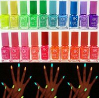 Wholesale 2pcs of one set Glow in Dark Fluorescent Neon Varnish Luminous DIY Nail Art Makeup Polish ml