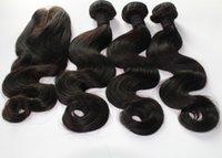 Wholesale hair weaves closures Brazilian Peruvian Indian Mongolian Hair bundles with pc Lace Closure middle part body wave