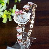 animal ladies watches - 2016 Female KT Watch Women Kids Children Girls Ladies Quartz Watch Bracelet Wristwatches Clock Women Cartoon Watches Montre Femme