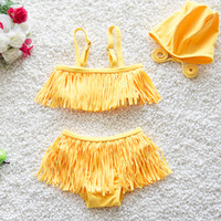 Cheap Bikinis girls bikini swimwear Best Girl Children's Day girls tassel bikini 2pcs sets swimwear