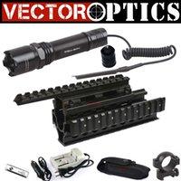 ak m - Vector Optics Nightbeat Tactical Flashlight LED Cree Q2 Torch Gun Light and AK Handguard Rail RIS Quad Rail System Combo